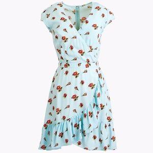 J.Crew faux-wrap mini dress in roses print